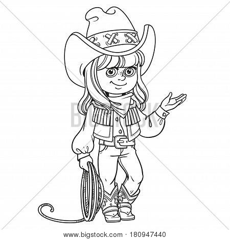 Cute Girl In A Cowboy Suit Is Holding A Lasso Outlined Isolated On White Background