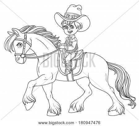Cute Little Boy In Cowboy Suit Riding On A Horse Outlined Isolated On White Background