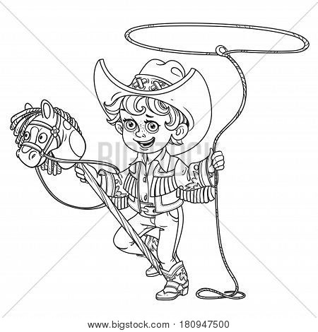 Cute Little Boy Playing With A Horse On A Stick And Lasso Outlined Isolated On A White Background