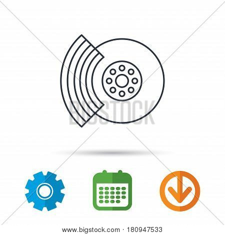 Brakes icon. Auto disk repair sign. Calendar, cogwheel and download arrow signs. Colored flat web icons. Vector