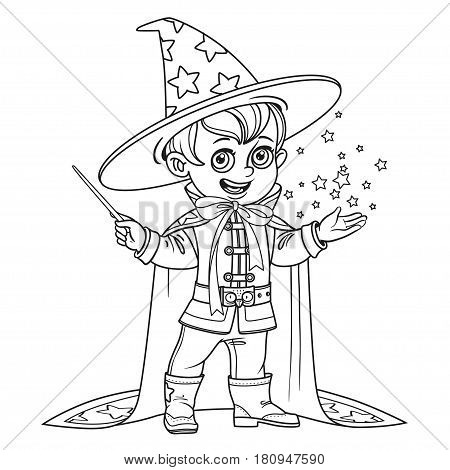 Cute little boy dressed as a Wizard with magic wand outlined isolated on white background