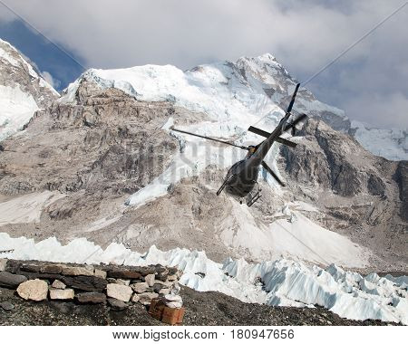 helicopper in Mount Everest base camp and mount Nuptse Nepal