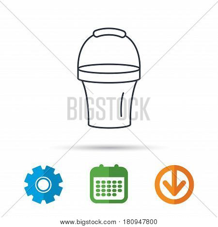 Bucket icon. Trash bin sign. Garden equipment symbol. Calendar, cogwheel and download arrow signs. Colored flat web icons. Vector