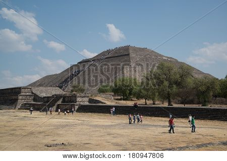 Teotihuacan, Mexico, circa february 2017: View on the pyramid of the sun in Archeological site Teotihuacan, Mexico