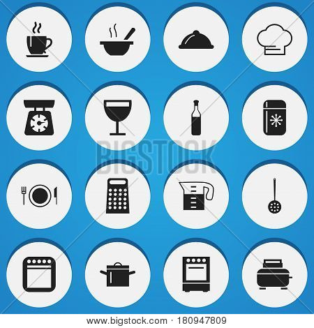 Set Of 16 Editable Cooking Icons. Includes Symbols Such As Food Libra, Plate, Fridge And More. Can Be Used For Web, Mobile, UI And Infographic Design.