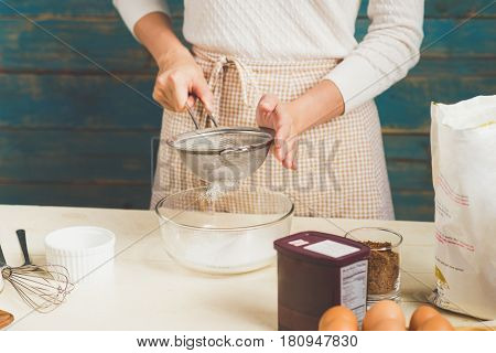 House Wife Wearing Apron Making. Steps Of Making Cooking Chocolate Cake.