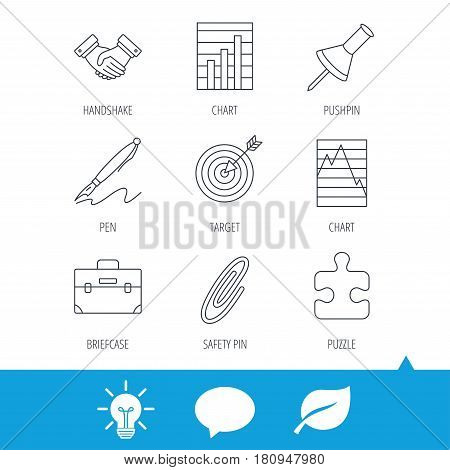 Handshake, graph charts and target icons. Puzzle, pushpin and safety pin linear signs. Briefcase and pen flat line icons. Light bulb, speech bubble and leaf web icons. Vector