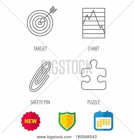 Puzzle, graph charts and target icons. Safety pin linear sign. Shield protection, calendar and new tag web icons. Vector