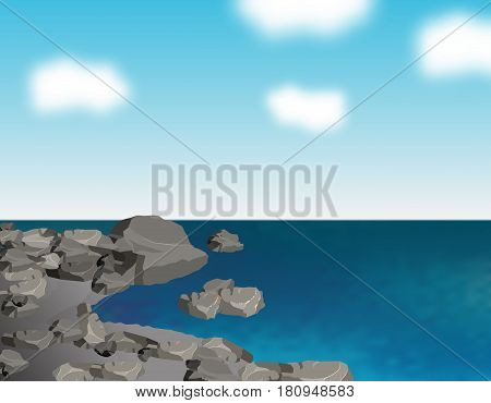 The stony sea shore. Gray stones. Ripples on the sea and clouds. Reflections in the water. Landscape. Vector illustration