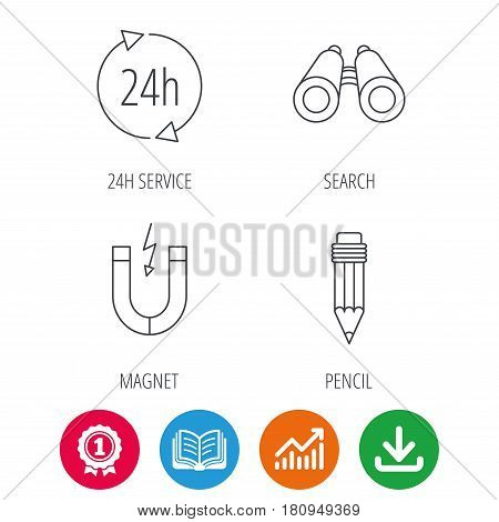 24h service, pencil and magnet icons. Search linear sign. Award medal, growth chart and opened book web icons. Download arrow. Vector