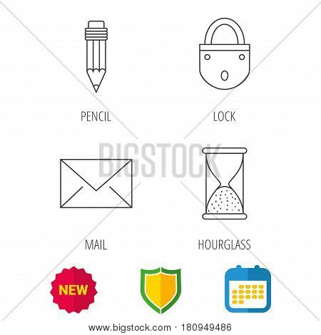 Mail envelope, pencil and lock icons. Hourglass linear sign. Shield protection, calendar and new tag web icons. Vector
