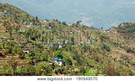 Kharikhola village Nepalese Himalayas mountains Trek from Jiri bazar to Lukla village and Everest area