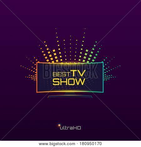 Best Tv Show emblem or logo design. Curved high definition TV. Vector