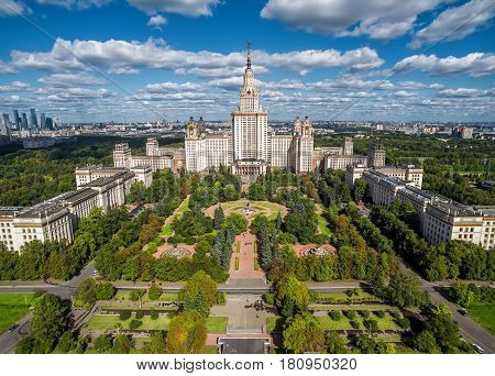 MOSCOW - SEPTEMBER 1, 2016: Aerial view of Lomonosov Moscow State University (MSU) on Sparrow Hills, Moscow.