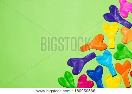 Celebration Flat Lay With Colorful Balloons On Green Background.