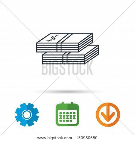 Cash icon. Dollar money sign. USD currency symbol. 2 wads of money. Calendar, cogwheel and download arrow signs. Colored flat web icons. Vector
