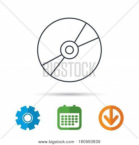CD or DVD icon. Multimedia sign. Calendar, cogwheel and download arrow signs. Colored flat web icons. Vector