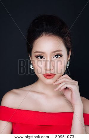 Sensual Glamour Portrait Of Beautiful Asian Woman Model Lady With Red Lips Color And Clean Healthy S