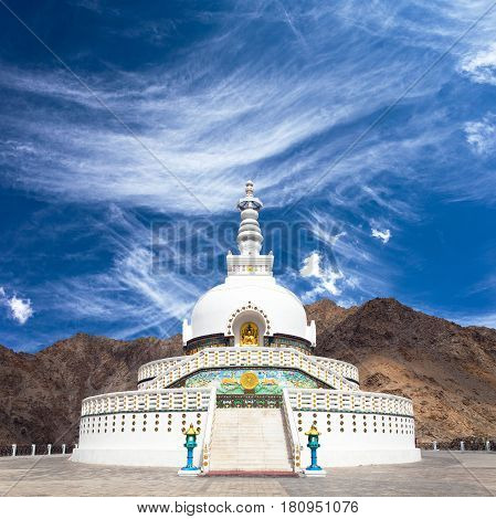 View of Tall Shanti stupa with beautiful sky the big stupa in Leh and one fron the best buddhist stupas - Jammu and Kashmir - Ladakh - India