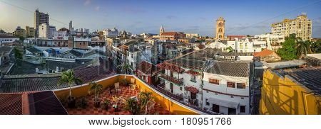 The panoramatic view of town of Cartagena Colombia