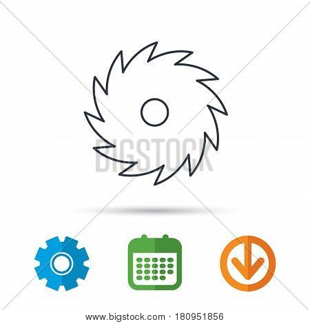 Circular saw icon. Cutting disk sign. Woodworking sawblade symbol. Calendar, cogwheel and download arrow signs. Colored flat web icons. Vector