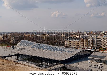 Lodz Fabryczna Railway Station. Lodz, Poland - April 02, 2017 Top view of the modern Lodz Fabryczna train station building.