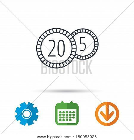 Coins icon. Cash money sign. Bank finance symbol. Twenty and five cents. Calendar, cogwheel and download arrow signs. Colored flat web icons. Vector