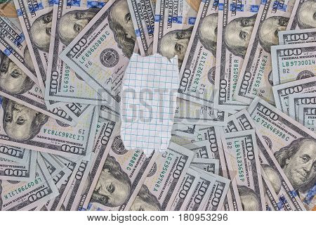 many usa dolalr banknotes as background. close up
