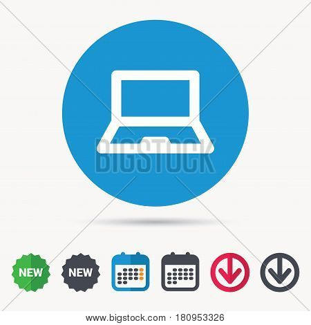 Computer icon. Notebook or laptop pc symbol. Calendar, download arrow and new tag signs. Colored flat web icons. Vector