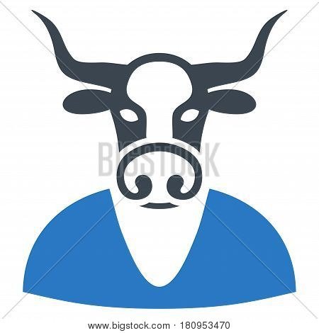 Cow Boy flat vector pictograph. An isolated illustration on a white background.