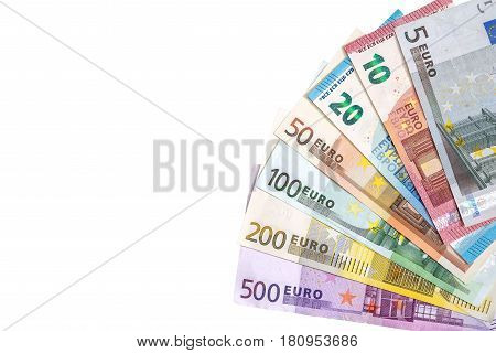 full set of banknote of euro isolated on white. Place for text.
