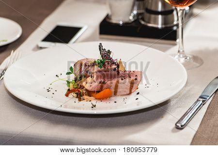 delicious tuna in a restaurant. small portion.