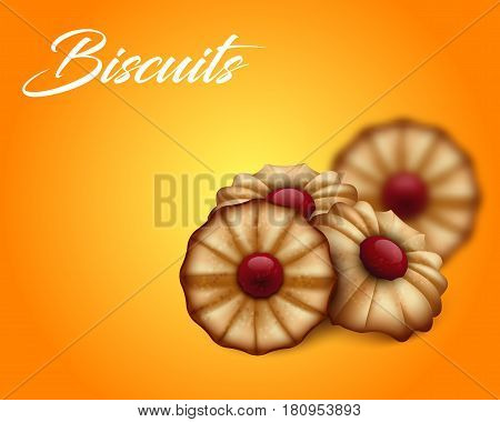 Buttery cookies with red jam on bright orange and yellow background