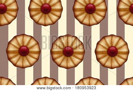 Buttery cookies with red jam on striped brown and beige like a cocoa and vanilla color seamless background.