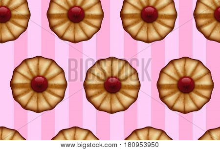 Buttery cookies with red jam on striped sweet pink color seamless background.
