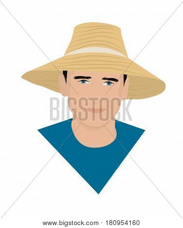 Portrait of a farmer in a straw hat. Vector illustration