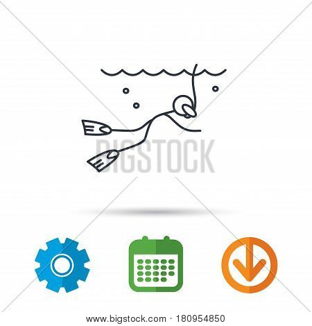 Diving icon. Swimming underwater with tube sign. Scuba diving symbol. Calendar, cogwheel and download arrow signs. Colored flat web icons. Vector