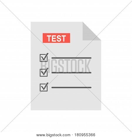 Exam test results paper sheet vector illustration, survey form checklist, filled quiz document isolated on white background, flat style icon