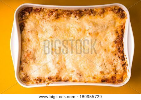 Lasagne cooked at home in large form for baking horizontal