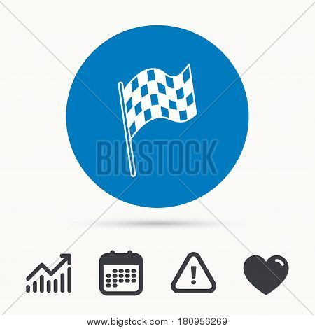 Finish flag icon. Start race sign. Calendar, attention sign and growth chart. Button with web icon. Vector
