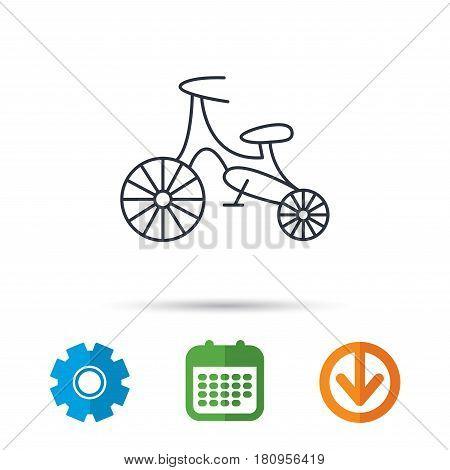Bike icon. Kids run-bike sign. First bike transport symbol. Calendar, cogwheel and download arrow signs. Colored flat web icons. Vector