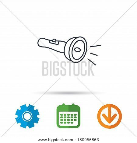 Flashlight icon. Light beam sign. Electric lamp tool symbol. Calendar, cogwheel and download arrow signs. Colored flat web icons. Vector
