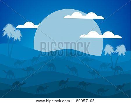 Night Desert Landscape. Caravan Of Camels In The Desert. The Big Moon. Vector Illustration