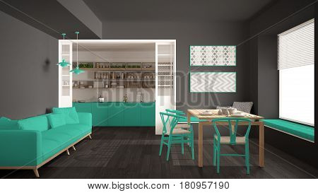 Minimalist kitchen and living room with sofa table and chairs gray and turquoise modern interior design, 3d illustration