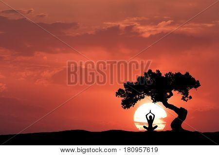 Silhouette of a sitting woman practicing yoga with raised up arms under the crooked tree on the hill on the background of sun and colorful red sky with clouds. Landscape with meditating girl at sunset