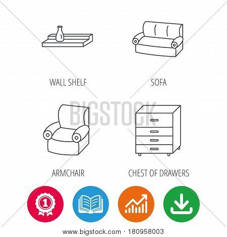 Sofa, wall shelf and armchair icons. Chest of drawers linear sign. Award medal, growth chart and opened book web icons. Download arrow. Vector