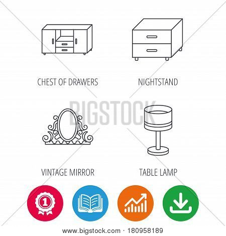 Vintage mirror, table lamp and nightstand icons. Chest of drawers linear sign. Award medal, growth chart and opened book web icons. Download arrow. Vector