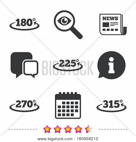 Angle 180-315 degrees icons. Geometry math signs symbols. Full complete rotation arrow. Newspaper, information and calendar icons. Investigate magnifier, chat symbol. Vector