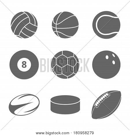 Sport balls icon set. Gray icons on white background. Different balls for many sports. Isolated illustration.