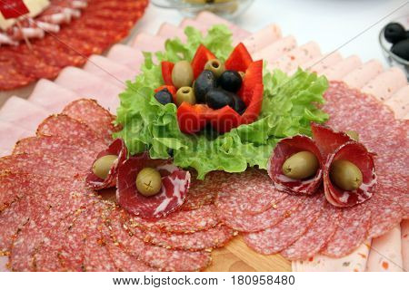 Classic Croatian starter plate with Fine Croatian sliced salami
